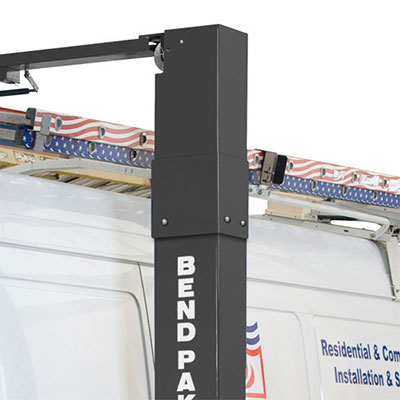 Optional Bolt-On Height Extension for Two-Post Lifts