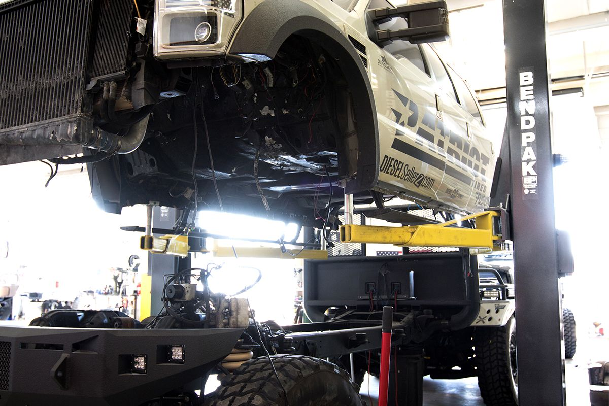 Diesel Brothers Truck on a BendPak Two-Post lift