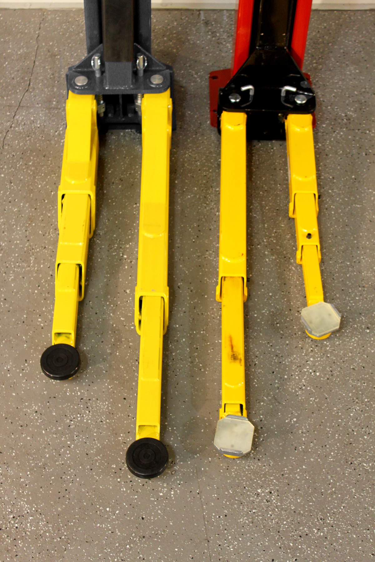 BendPak Two-Post lift Compared to Challenger Lift Arms Extended