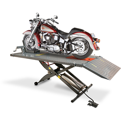 RML-600XL Motorcycle Lift Table Complete Wide Side and Front Extended