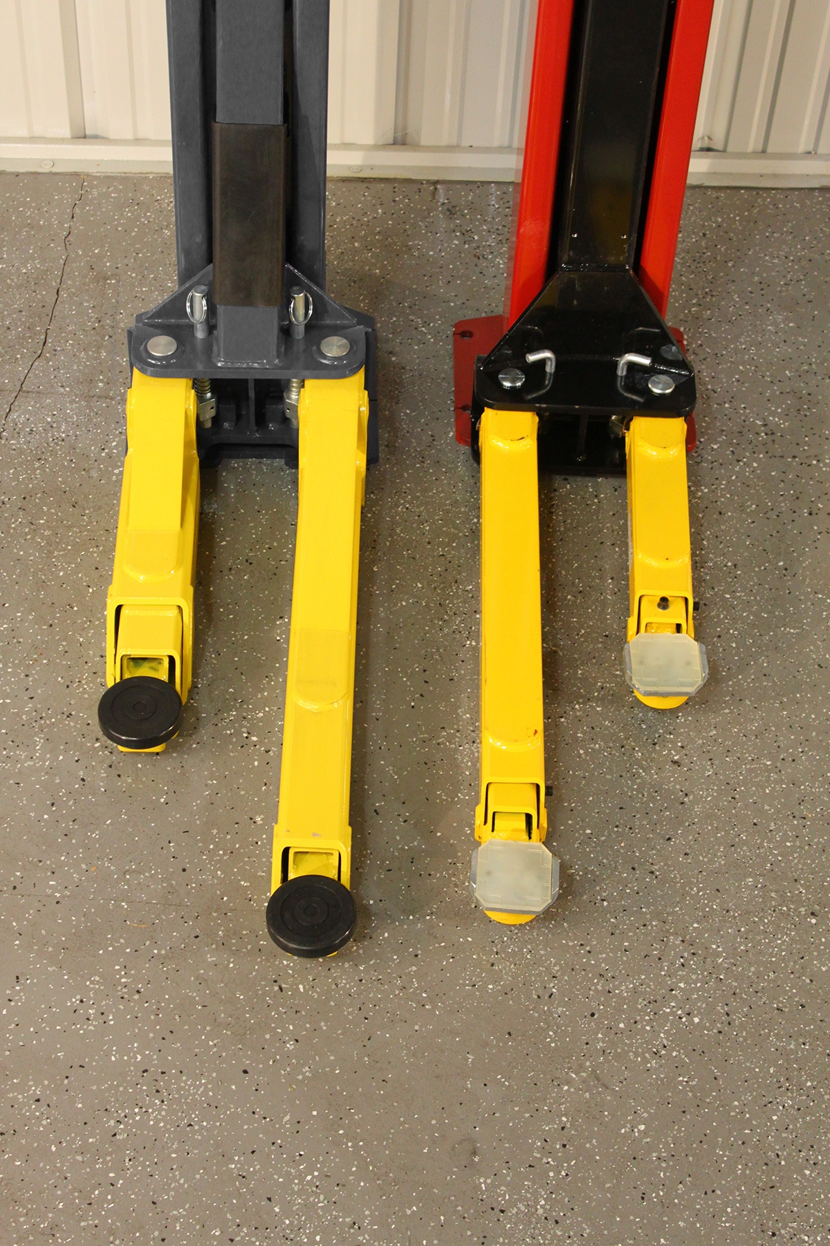 BendPak Two-Post lift Compared to Challenger Lift Arms Retracted